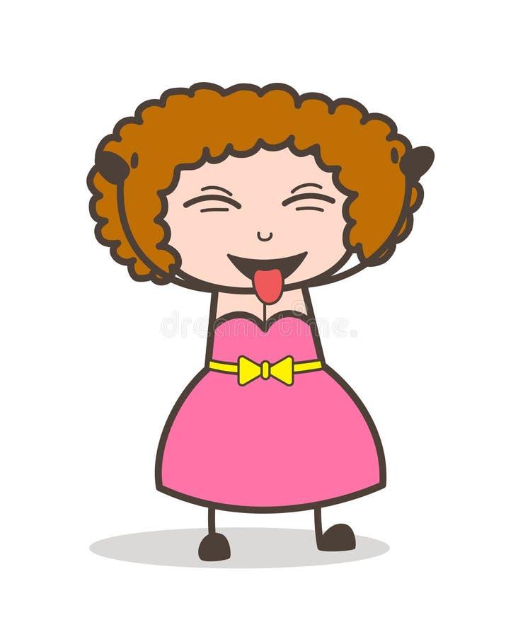 Señora traviesa Laughing y vector de tomadura de pelo de la historieta de la lengua stock de ilustración