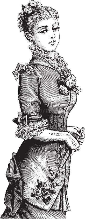 Señora victoriana de moda ilustración del vector