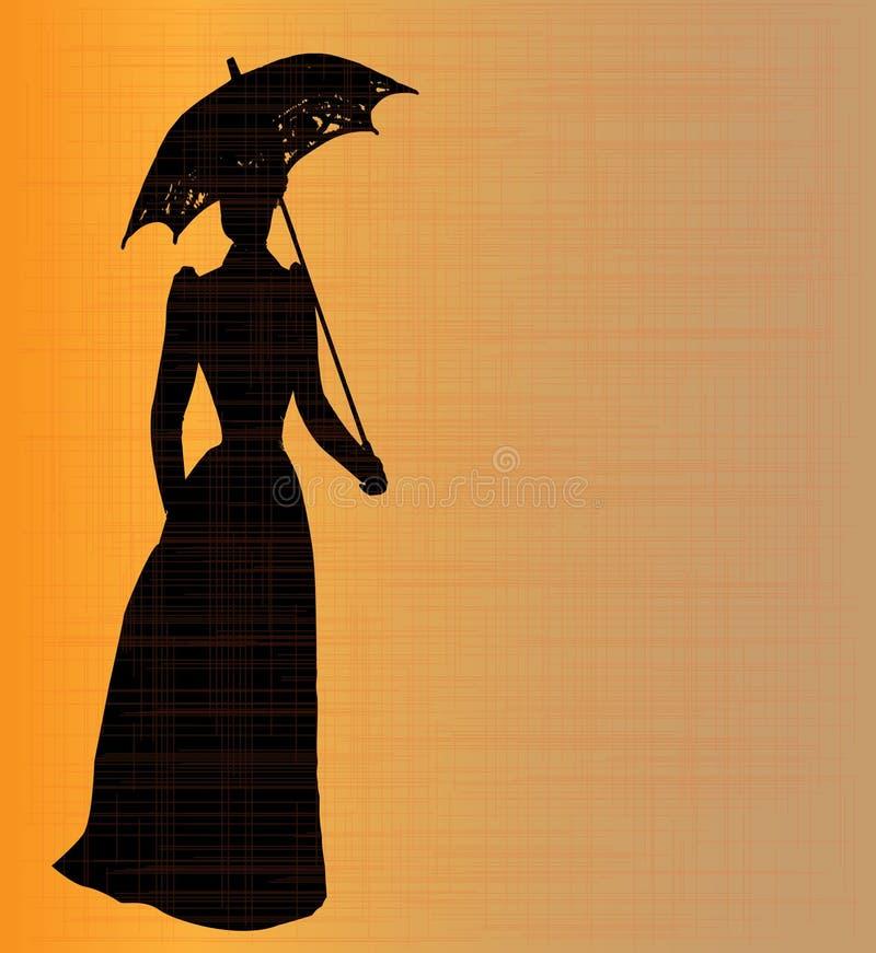 Señora victoriana Silhouette Background stock de ilustración