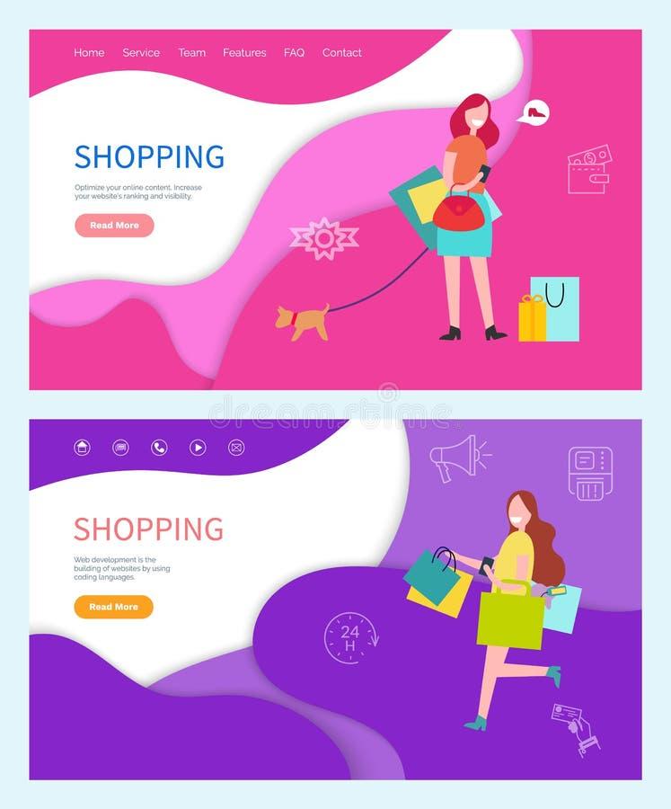 Señora Walking Dog del encanto que hace compras en sistema del correo libre illustration