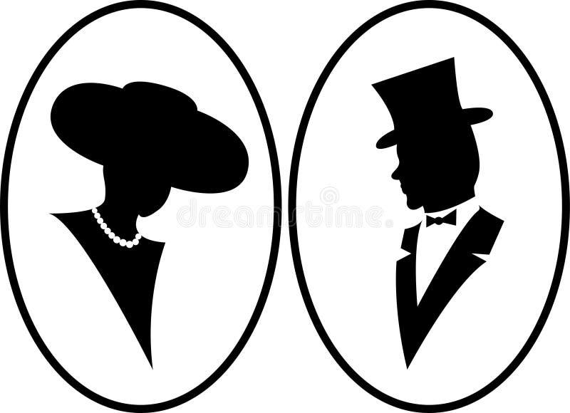 Señora y caballero stock de ilustración