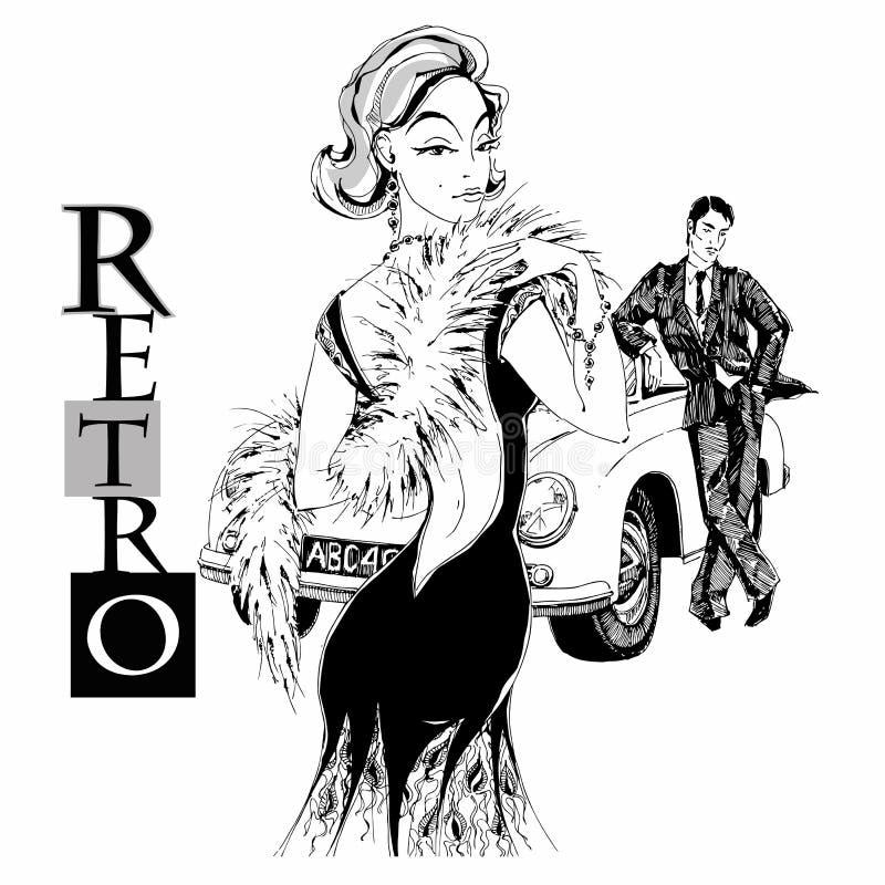 Señora y caballero elegantes en estilo retro Coche gr?ficos Vector libre illustration