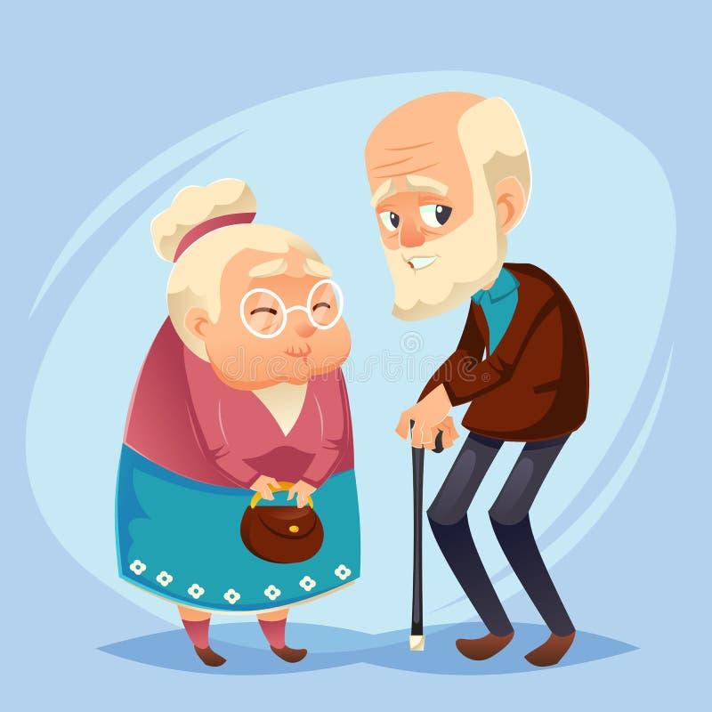 Señora y caballero mayores con los pares felices de los ancianos de la edad avanzada del pelo de plata abuelos abuelo, pocilga pl libre illustration