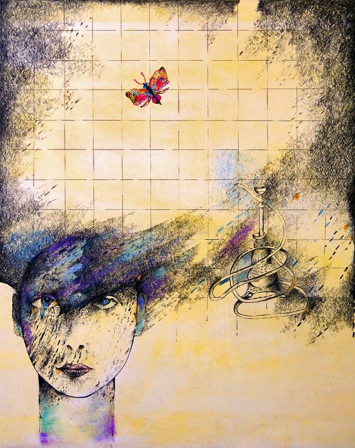 Señora y una mariposa stock de ilustración