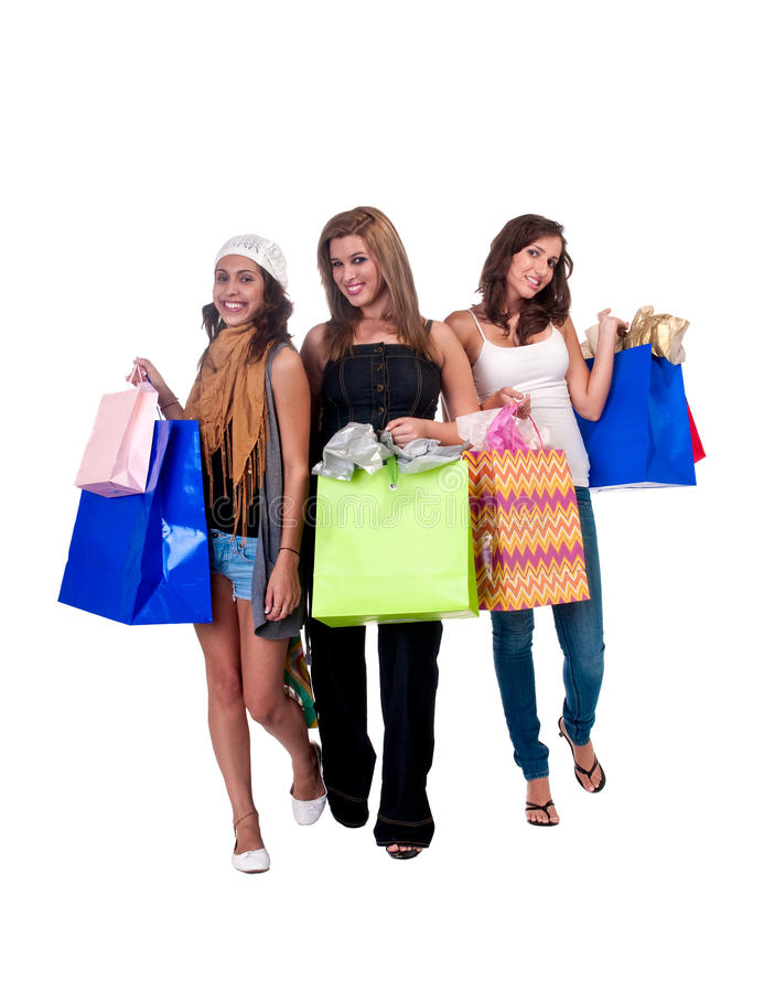 Señoras con los giftbags imagen de archivo