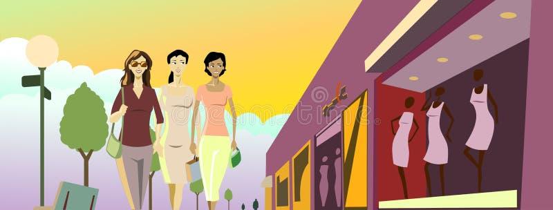Señoras de las compras ilustración del vector
