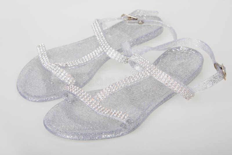 Señoras Jelly Shoes abrochada transparente fotos de archivo