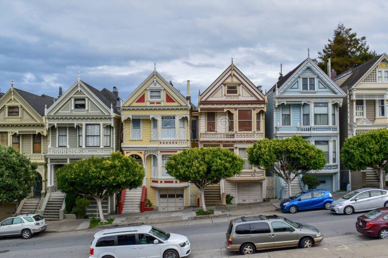 Señoras pintadas hermosas en el cuadrado de Álamo, San Francisco fotos de archivo libres de regalías