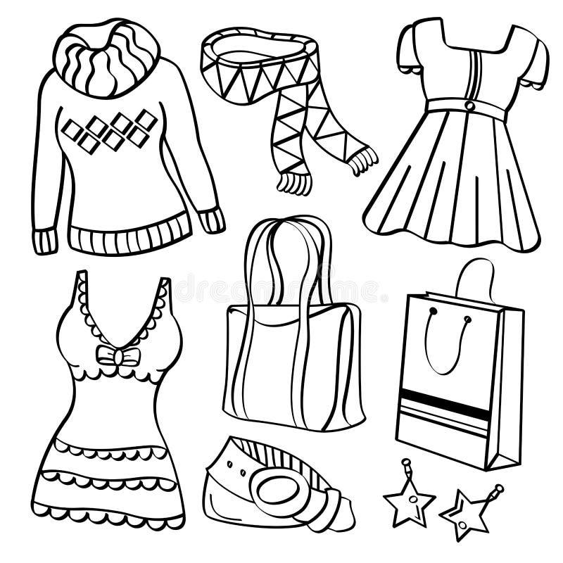 Señoras ropa y accesorios ilustración del vector