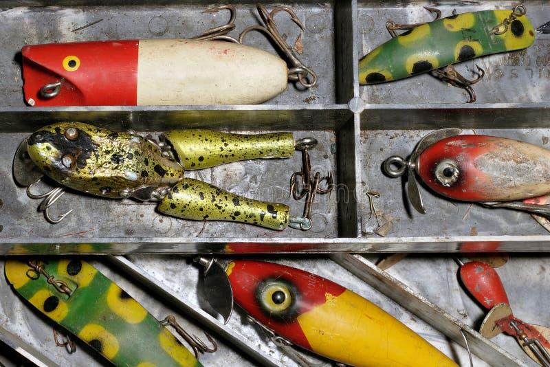 Señuelos antiguos de la pesca fotos de archivo libres de regalías