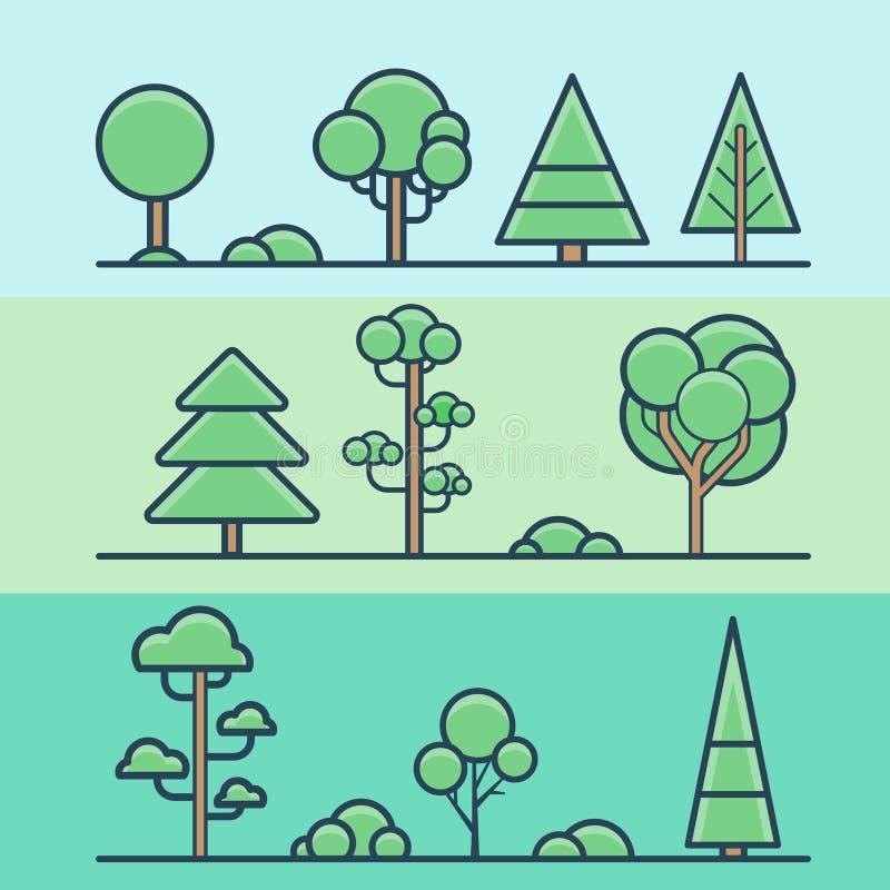 Se природы леса парка куста дерева геометрический красочный иллюстрация вектора