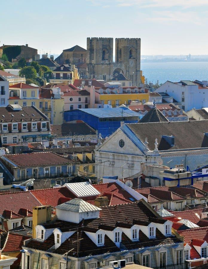 Se собора Лиссабона и Baixa стоковая фотография