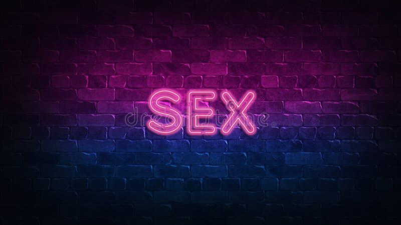 Se?al de ne?n del sexo resplandor p?rpura y azul Texto de ne?n Pared de ladrillo encendida por las l?mparas de ne?n Iluminaci?n d ilustración del vector