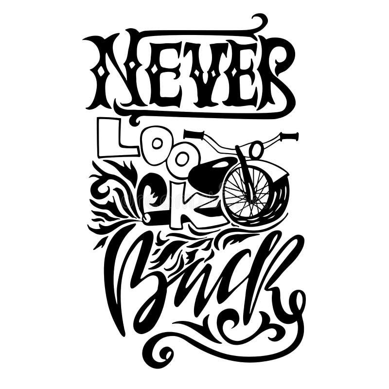 Se aldrig tillbaka Hand dragen bokstäver Motivational typografidesign för vektor Handskriven modern borstefilosofi vektor illustrationer