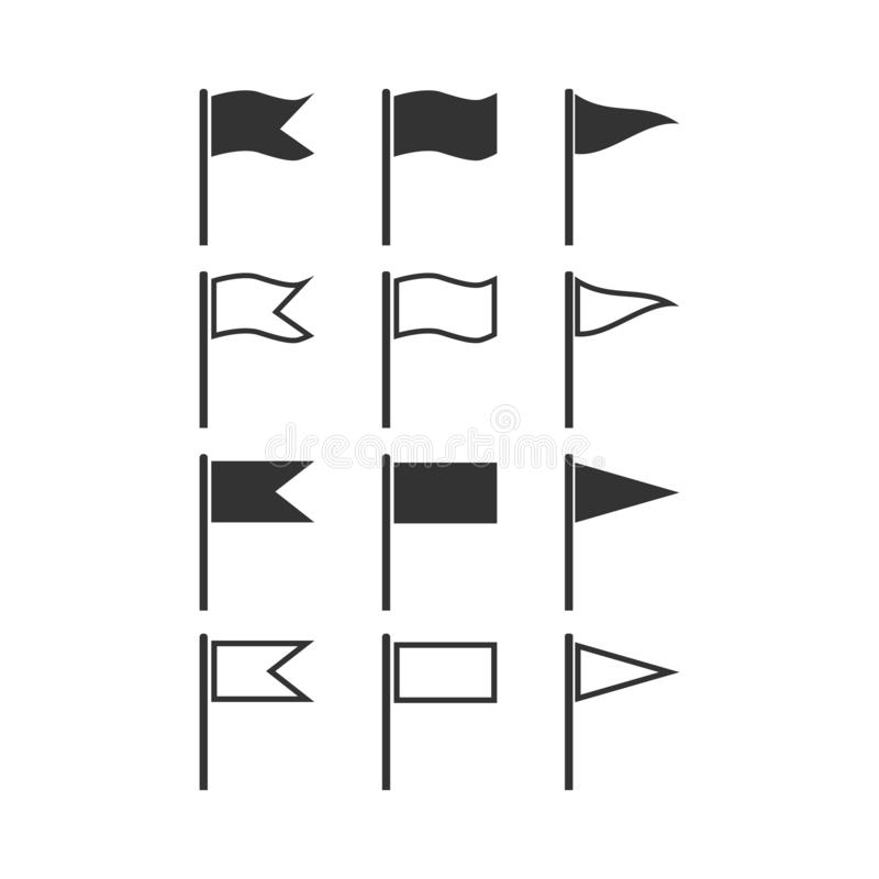 Se?ale el icono por medio de una bandera set Ejemplo del vector, dise?o plano stock de ilustración