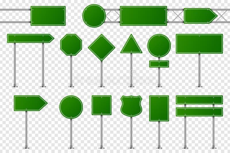 Se?ales de tr?fico verdes Tablero en blanco del camino para advertir, indicando la dirección, la señalización de la prohibición y stock de ilustración