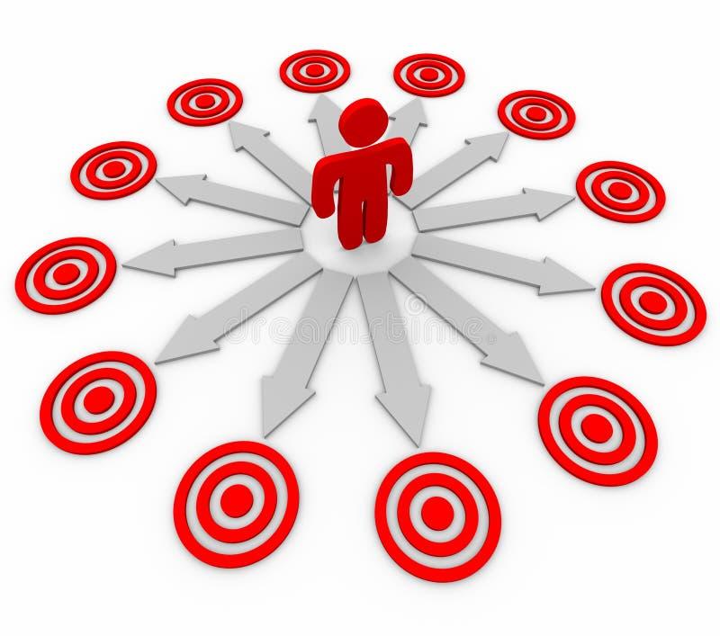 Se apuntan muchas oportunidades - hombre y las flechas stock de ilustración