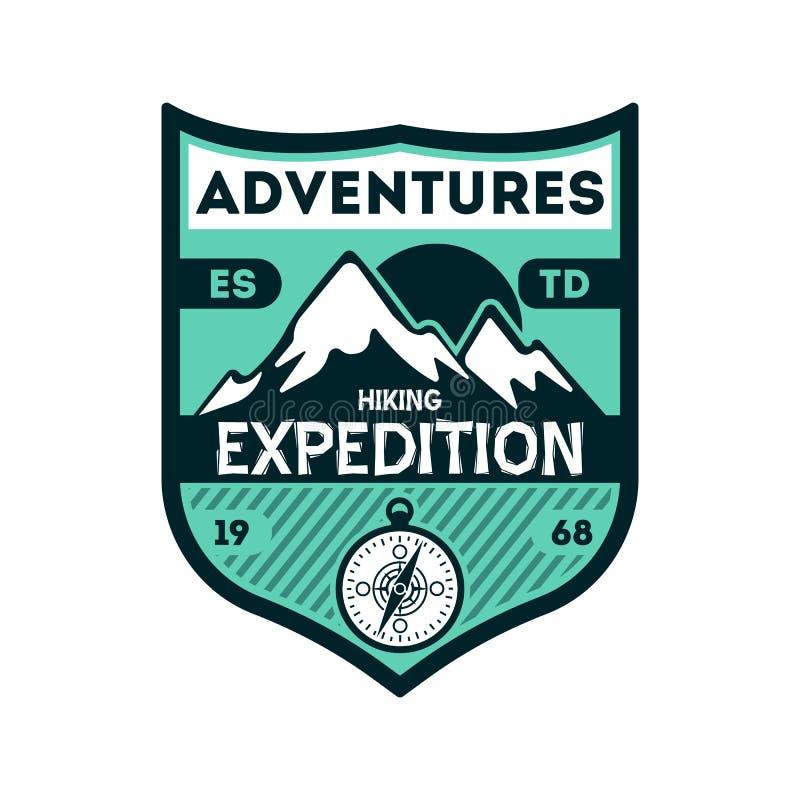Se aventura la insignia aislada vintage de la expedición stock de ilustración