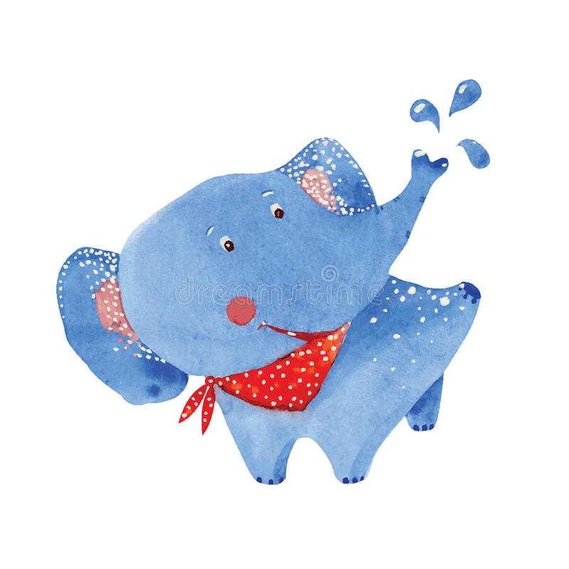 Se baigner d'éléphant illustration de vecteur