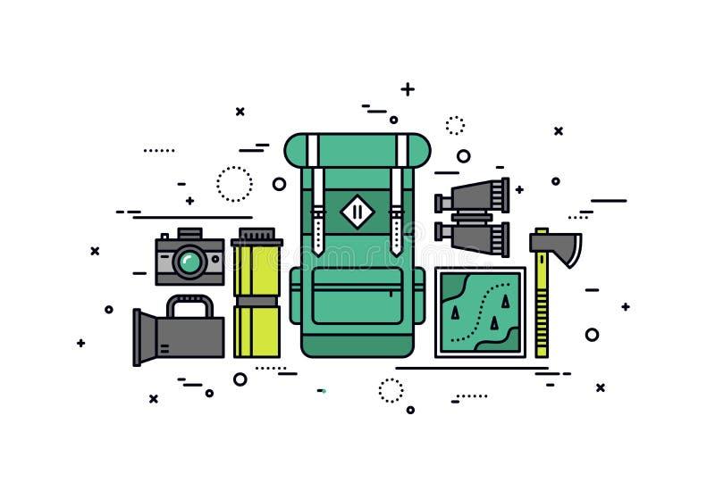 Se balader pour la ligne illustration de voyage de style illustration libre de droits