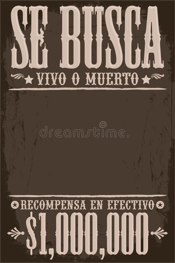 Se Busca Vivo o Muerto, который хотят умершие или шаблон текста живого плаката испанский бесплатная иллюстрация