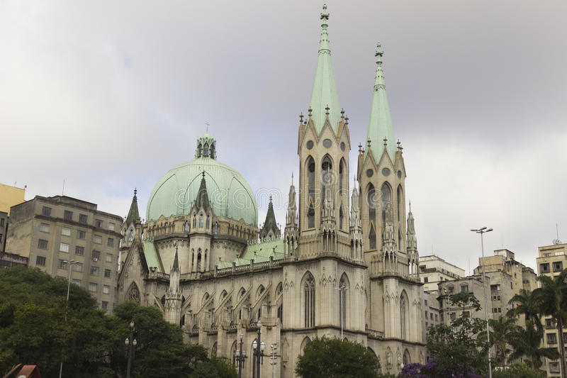 Se Cathedral in Sao Paulo, Brazil. The São Paulo See Metropolitan Cathedral --`See` and `cathedra` mean `seat` and therefore the ecclesiastical authority of a stock photography