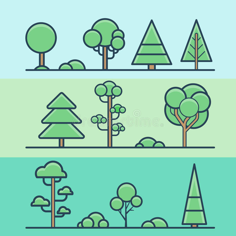 SE colorido geométrico da natureza da floresta do parque do arbusto da árvore ilustração do vetor