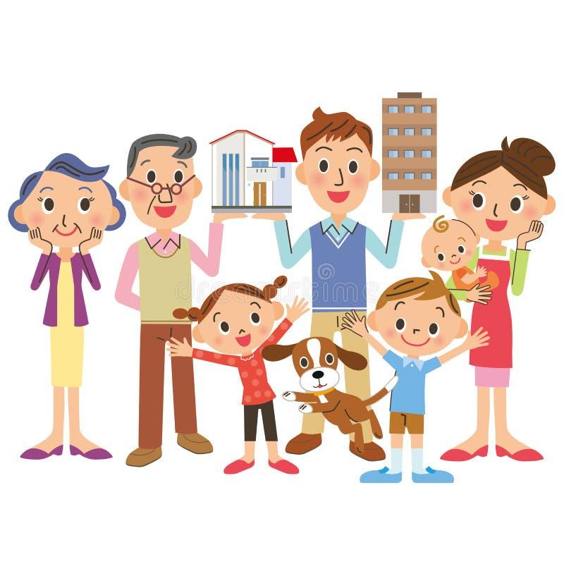 Se compra la casa en familia de la tres-generación libre illustration
