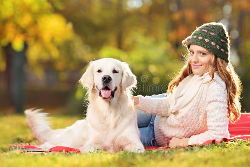 Se coucher assez femelle avec un chien en parc images stock