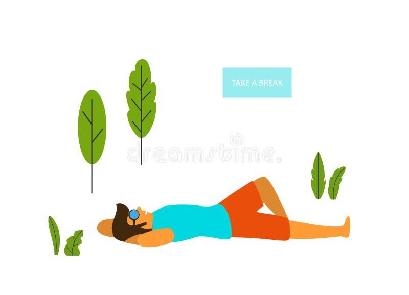 Se coucher de détente d'homme en parc illustration de vecteur