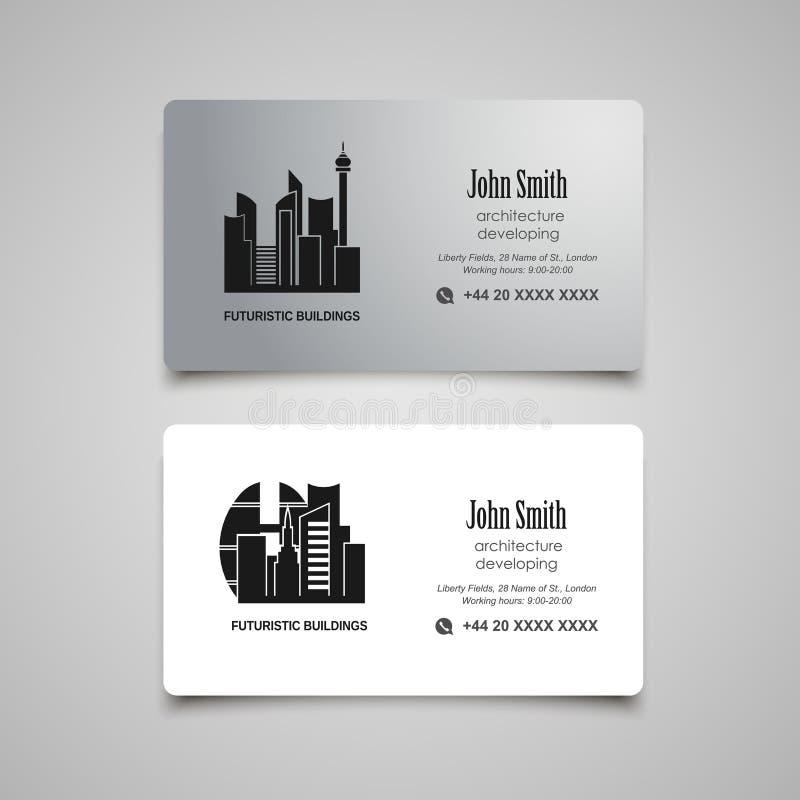 Se développer d'architecture ou calibre de vecteur de carte de visite professionnelle de visite de loyer illustration libre de droits
