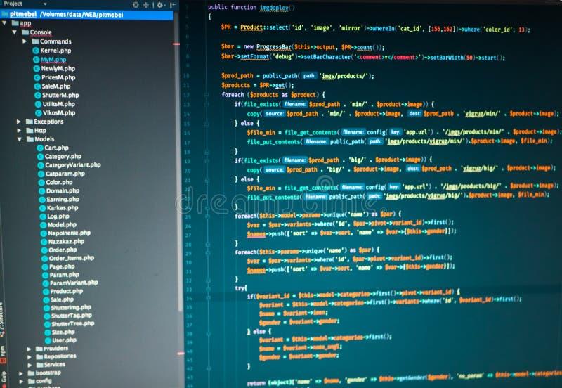 Se développer de PHP du site dans le rédacteur de code photographie stock libre de droits