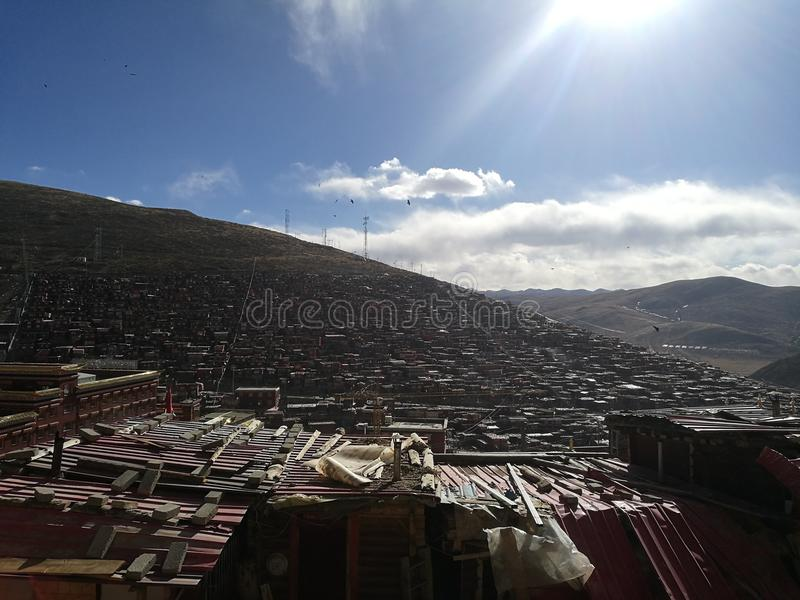 Se Da Buddhist Monastery and School in Sichuan Province, China. Se Da is currently the largest Tibetan Buddhist school in the world and not open to westerners stock images