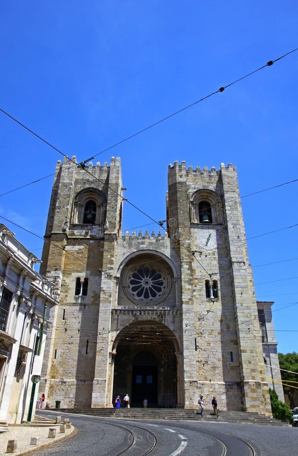 Se de里斯本大教堂,里斯本,葡萄牙 库存照片
