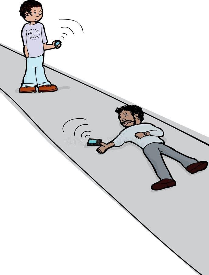 Se den döda mannen med telefonen royaltyfri illustrationer
