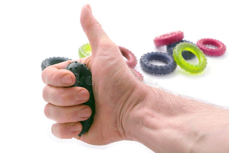 Se divierte el entrenamiento de dedos de una mano. imagen de archivo