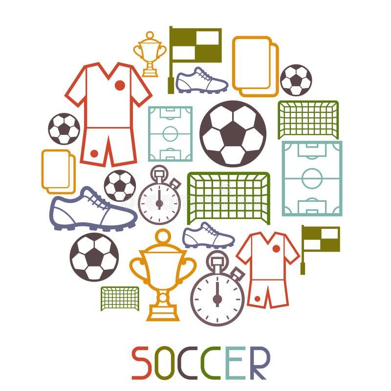 Se divierte el fondo con símbolos del fútbol del fútbol stock de ilustración