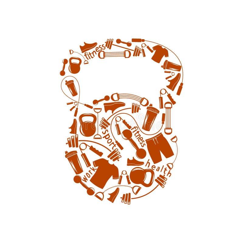 Se divierte el kettlebell ilustración del vector
