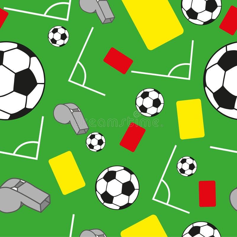 Se divierte el modelo inconsútil con símbolos del fútbol del fútbol ilustración del vector