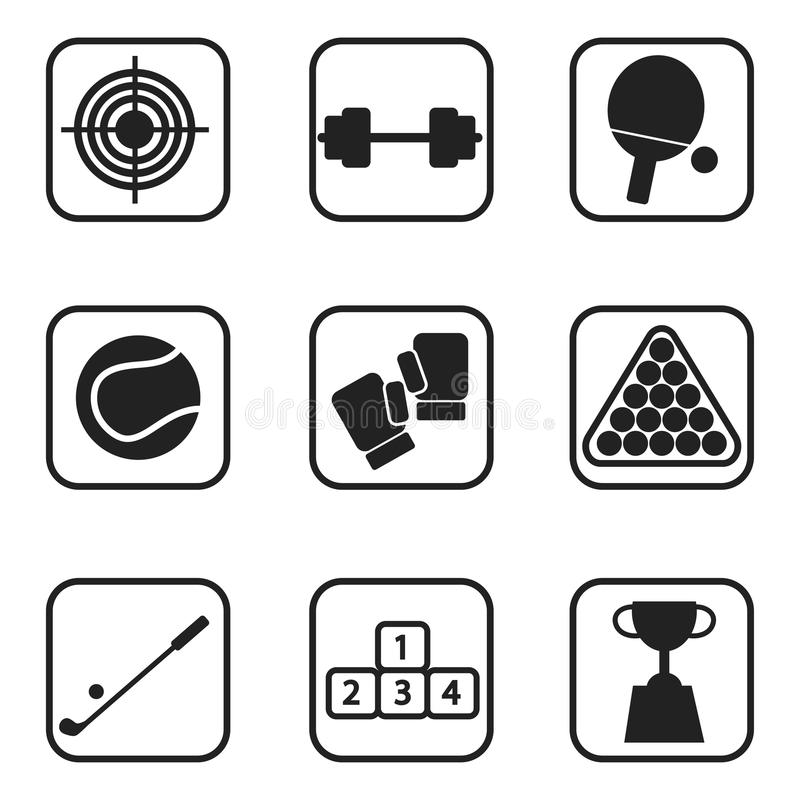 Se divierte iconos en el fondo blanco stock de ilustración