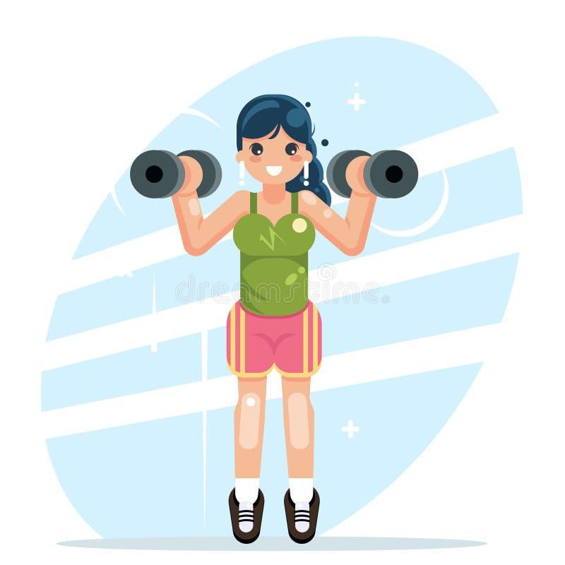 Se divierte a la muchacha contratada al ejemplo plano del vector del diseño de las pesas de gimnasia de los deportes de la aptitu ilustración del vector