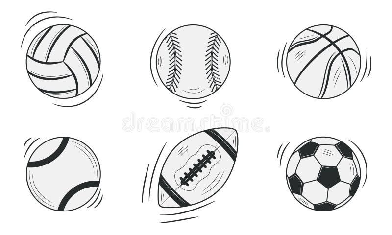 Se divierte las bolas aisladas en el fondo blanco Garabato, estilo del bosquejo Ilustraci?n del vector libre illustration