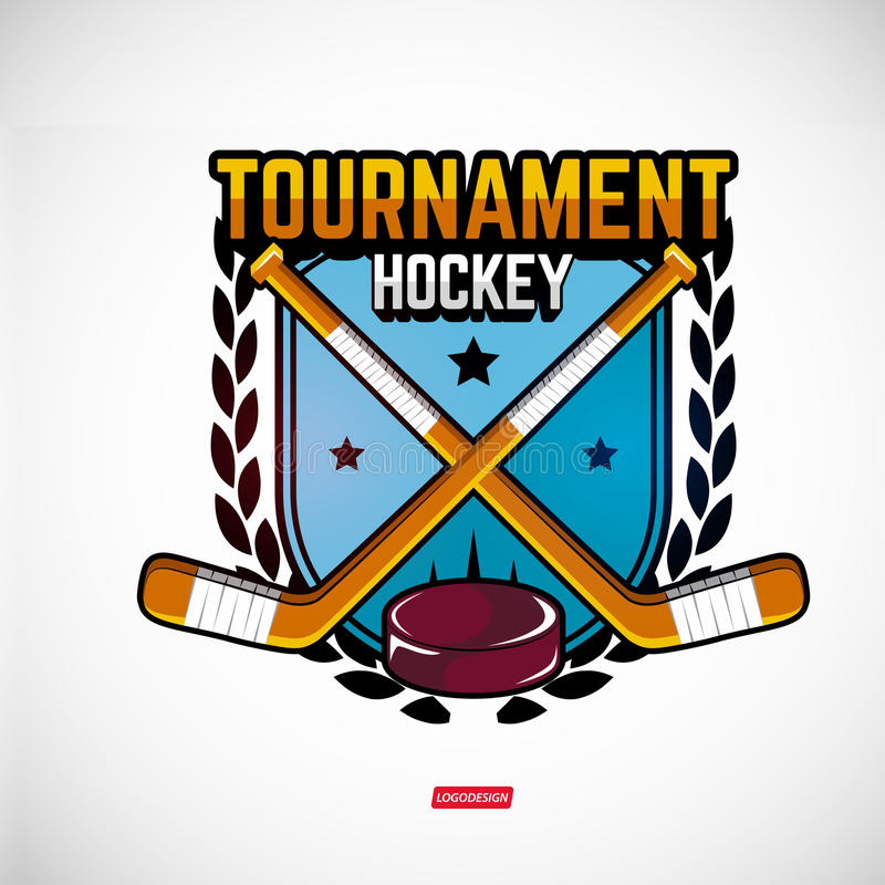 Se divierte los logotipos para el hockey ilustración del vector