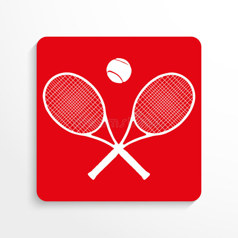 Se divierte símbolo tenis Engrana el icono Imagen roja y blanca en un fondo ligero con una sombra libre illustration