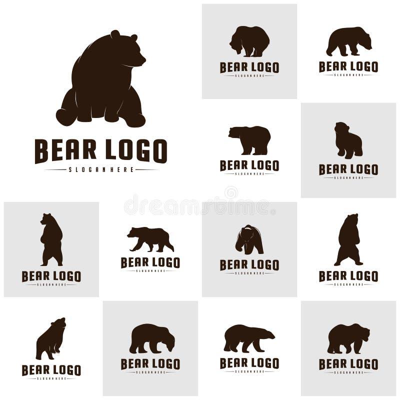 SE do urso Logo Icon Designs Vetora Ursos Logo Concepts S?mbolo do ?cone ilustração stock