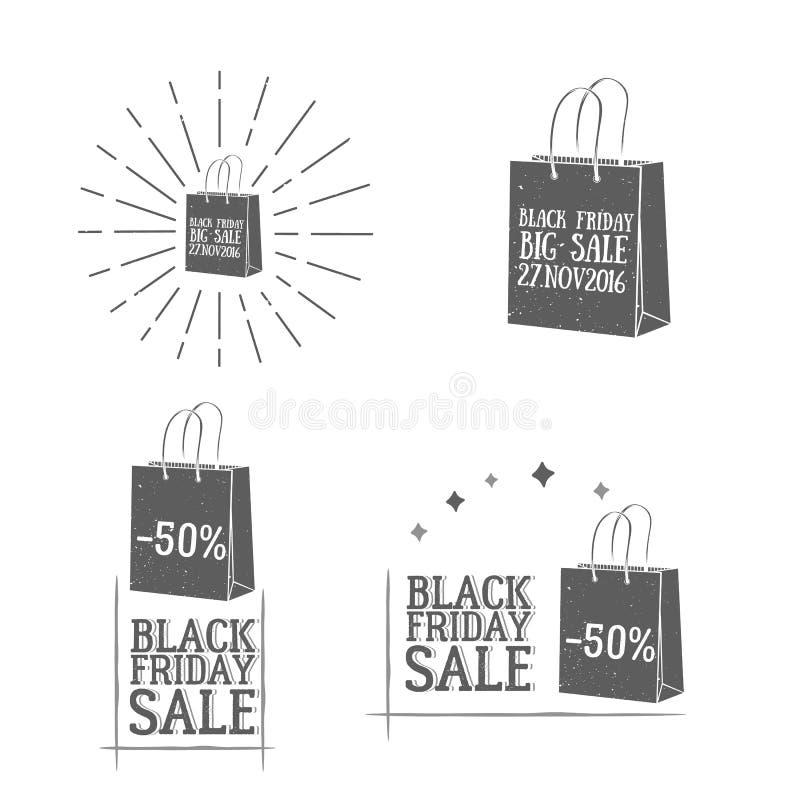 SE dos logotypes do vintage de Black Friday do vetor imagem de stock
