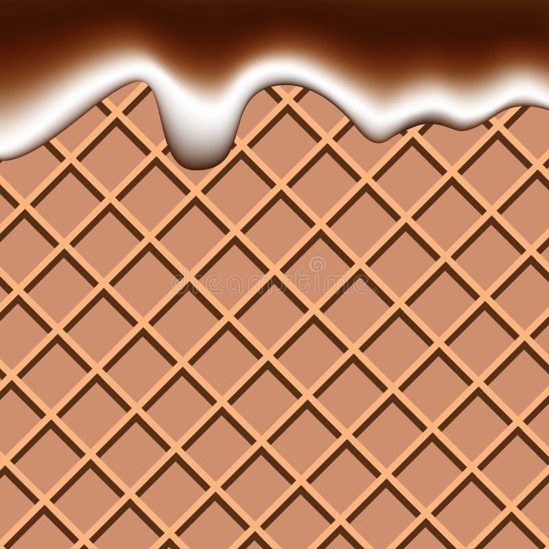 Se enrollan líquido del chocolate y de la leche que agita el vect abstracto del fondo ilustración del vector