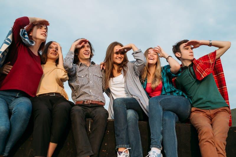 Se för idédrömmen för det framtida planet folk för gruppen tillsammans royaltyfri fotografi