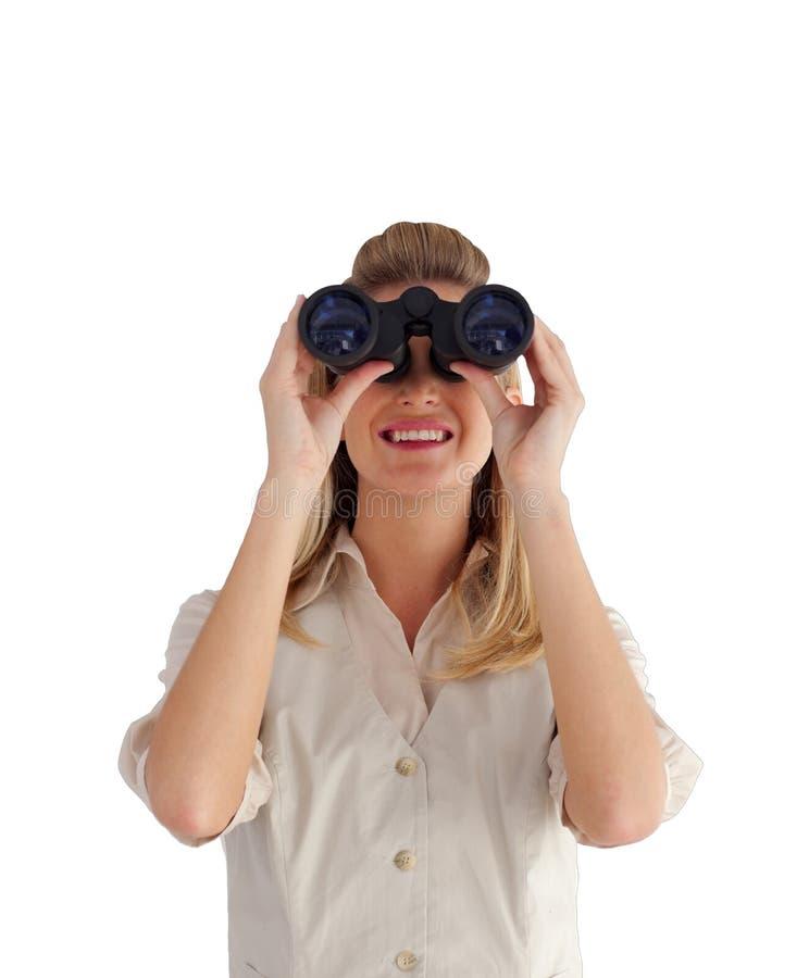 se för kikareaffärskvinna arkivbild