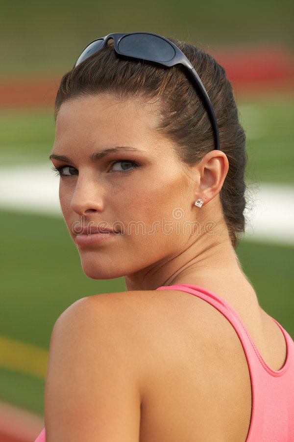 se för kvinnlig för idrottsman nen tillbaka arkivbild